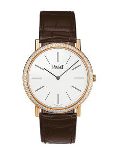 Montre Altiplano Piaget en or rose et diamants http://www.vogue.fr/joaillerie/a-voir/diaporama/horlogerie-piaget-expose-sa-maitrise-de-l-extra-plat-montres-altiplano-exposition-printemps-haussmann/15156/image/827973#!8