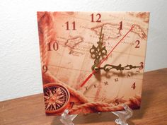 Hey, I found this really awesome Etsy listing at https://www.etsy.com/listing/160059350/ceramic-tile-desk-wall-clock-antique-map