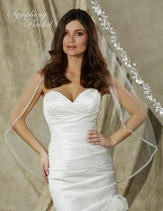 Beautifully  Beaded Edge Fingertip Wedding Veil 6617VL Symphony Bridal - Affordable Elegance Bridal -