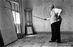 Matisse with his long-handled brush