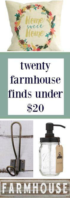 20 Farmhouse Deals Under $20!!! Farmhouse Style Decorating, Rustic Farmhouse Decor, Farmhouse Chic, Farmhouse Design, Rustic Design, Country Decor, Rustic Decor, Industrial Farmhouse, Joanna Gaines