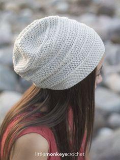 Shiplap Slouch Hat - Free Crochet Pattern at Little Monkeys Crochet. Matching cowl pattern linked.