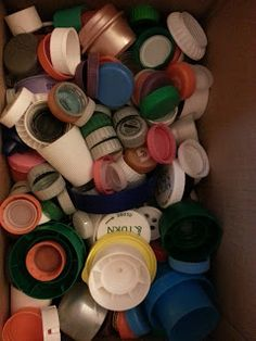 #Brownie Girl Scout Wonders of Water journey and Household Elf #badge tie-in: Recycle lids to plastic bottles.