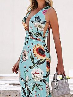 Sexy Deep V Printed Colour Sleeveless Maxi Dresses Sexy Dresses, Fashion Dresses, Latest Fashion Design, Fashion Prints, Deep, Colour, Printed, Outfits, Bali
