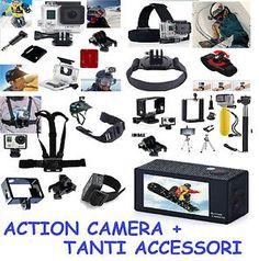 Action Camera + Set Accessori Foto Video Cam Nero Gopro SJCAM Full HD wifi Sport