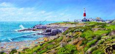 Portland Bill Lighthouse In April by Roger Turner - Oil on wooden panel 605 X 29 cm Portland Bill Lighthouse on the Isle of Portland in the beautiful. Portland Stone, Out To Sea, The Rock, Lighthouse, Wild Flowers, Paris Skyline, Watercolor Paintings, Dorset England, Waves