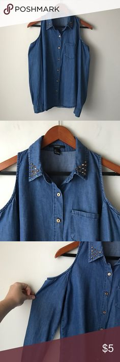 Forever 21 cold shoulder chambray shirt Cold shoulder chambray shirt - front button closure - long sleeves with button cuffs - studded details on collar - size S Forever 21 Tops