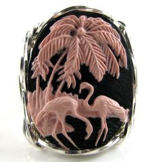 Pink Flamingo Cameo Ring Sterling Silver br br br Lovely and large x mm molded resin fashion cameo hand sculpted in the finest Jeweler's Sterling Silver custom designed setting br Cameo Jewelry, Cameo Ring, Custom Jewelry, Handmade Jewelry, Jewelry Design, Handmade Crafts, Diamond Jewelry, Foto Flamingo, Flamingo Art