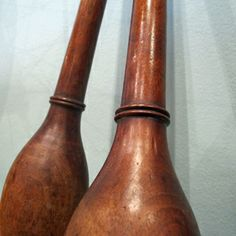 Timber details on the English pair of juggling clubs | quintessential duckeggBLUE