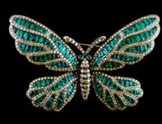 Black Gold, Yellow Diamond, Emerald Butterfly Brooch
