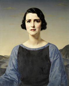 Джерард Лесли Брокхорст (Gerald Leslie Brockhurst), 1890-1978. Англия - США.  Портрет дамы в пейзаже (Portrait of a Lady in a blue and black dress in a lake landscape)