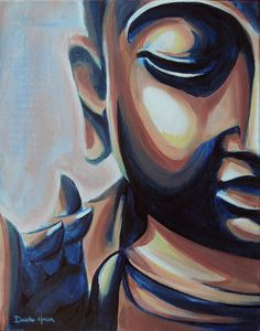Original Buddha Acrylic Painting Copper and Blue on by DhansonArt