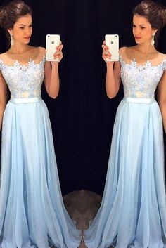 Elegant Light Sky Blue Prom Dresses, A line Long Formal Prom Dresses, Lace Appliqued Evening Gown With Sheer Neckline