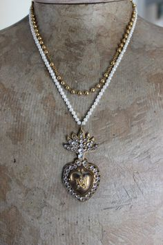 Antique French Initial M Faceted Crystal Heart Ex Voto w/Original Prayer,Vintage Seed Pearl Beads +Antique French Goldfill Rosary Chain