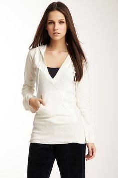 Hooded V-Neck Long Sleeve Sweater