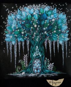 Awesome tree coloring on a black background