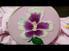 Hand embroidery beautiful hibiscus flower - YouTube