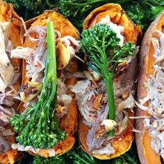 Good morning friends! I'm Laura from @cookathomemom, and I've been having a blast sharing some of my favorites with you. Thank you for all of your comments and questions - I love getting to know you and working together toward wellness! Here's another crock pot recipe that I hope you'll enjoy!  # Cider Pulled Pork Stuffed Sweet Potatoes  Crock Pot Pork: 1 6 lb pork roast 2 onions 3-5 cloves of garlic 1/2 cup apple cider vinegar 2 cups vegetable broth 2 tbsp mustard (make sure no sugar is…