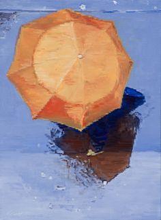 Orange Umbrella In The Paris Rain by Warren Keating