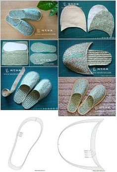 Crochet slippers, patterns and explanations to create them - Donnac . - Crochet slippers, patterns and explanations to create them – . Pdf Sewing Patterns, Sewing Tutorials, Sewing Hacks, Sewing Crafts, Sewing Projects, Fabric Crafts, Sewing Slippers, Felted Slippers, Crochet Slippers