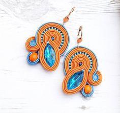 Blu arancione Soutache Orecchini-blu cristallo Orecchini-Retro orecchini-Boho Hippie Boho orecchini Hippie gioielli di perline orecchini-mano ricamo