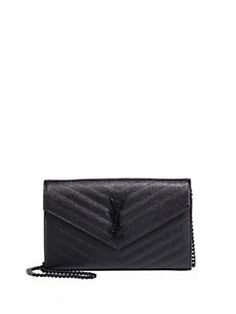 1e54a23b60a5 Iconic chain style in grained leather with tonal YSL Adjustable chain  shoulder strap, about drop Magnetic snap-flap closure Black hardware One  inside slip ...