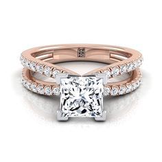 Princess Cut Diamond Engagement Ring With Pave Split Shank In 14k Rose Gold (1/3 Ct.tw.)