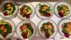 Saffron marinated scallop salad w/ roasted heirloom tomatoes, avocado, spinach in a champagne basil vinaigrette