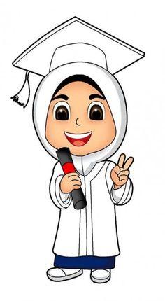 School Cartoon, Baby Cartoon, Graduation Cartoon, Doodle Girl, Islamic Cartoon, Anime Muslim, Hijab Cartoon, School Scrapbook, Cute Couple Art