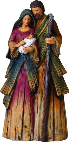 Woodlike Holy Family Nativity Figure