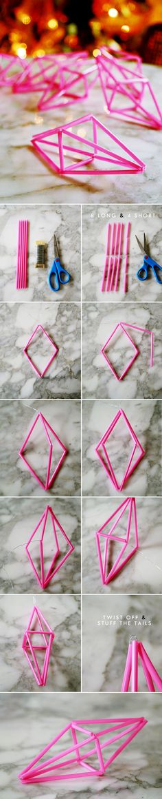 Hot pink geometric ornaments - perfect for Himmeli making.