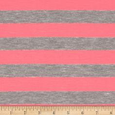 Rayon Blend Jersey Knit Stripes Neon Pink
