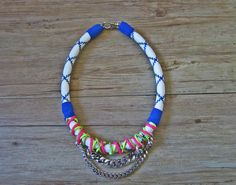 Neo tribal rope necklace in blue and white statement by maslinda, $69.00