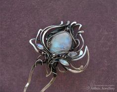 Hairpins silver hairpin lily flower hair pin от KLDesignerJewelry