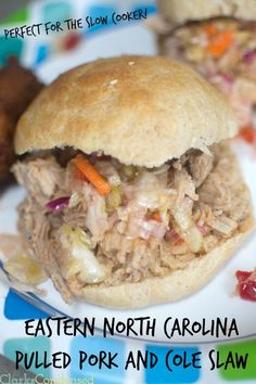{{Slow Cooker Pulled Pork}} This eastern carolina bbq pulled pork has the perfect amount of vinegar, heat, and sweetness. It's especially delicious when piled on top of a homemade hamburger bun, and topped with North Carolina style cole slaw.