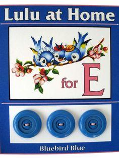 ButtonArtMuseum.com - Blue bird buttons. E is for Ebel!