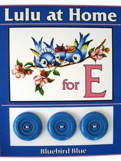 ButtonArtMuseum.com - Blue bird buttons. E is for Ebel!