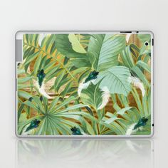 Golden Royal White and Blue-green Peacock Feathers Laptop & iPad Skin by justkidding #LaptopSkin #graphicdesign #leaves #peacockfeathers #green #darkgreen