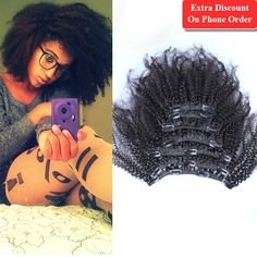 """Afro Kinky Curly Clip In Human Hair Extensions Virgin Mongolian Curly Human Hair Clip In Extensions 10""""-26"""" Kinky Curly Clip Ins - http://jadeshair.com/afro-kinky-curly-clip-in-human-hair-extensions-virgin-mongolian-curly-human-hair-clip-in-extensions-10-26-kinky-curly-clip-ins/  Full Head Set"""