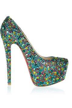 Christian Louboutin | Daffodile 160 crystal-embellished leather pumps ...candy colored crystals $6935 o_0