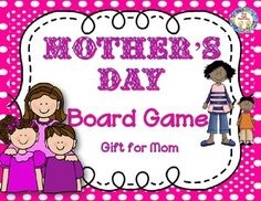 """$  Mother's Day Folder Board Game is for children to make to play with Mom on Mother's Day (or anytime). Makes a great gift to give mom! Reading, math and citizenship will be practiced without the students even knowing it! This game can also be used in the classroom to reinforce reading skills.  All you need is a file folder per child, print game board and cards then have students glue the game on the folder. It could be laminated to make it a really """"top-notch"""" gift for mom!Mother's Day…"""