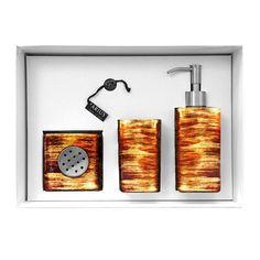 GRAFFITI Set Rosso/Oro/AvorioGRAFFITI Set composto da dispenser, bicchiere e vaschetta portasapone in vetro, colore rosso/oro/avorio. Il set è venduto in una confezione regalo.