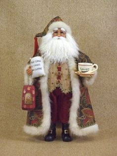 KensingtonRow Home Collection Holiday Figurines - Coffee Break Santa - Collectors Santa - Christmas Decoration Christmas Coffee, Father Christmas, All Things Christmas, Santa Figurines, Collectible Figurines, Coffee Bean Bags, Coffee Beans, Santa Claus Figure, Primitive Santa