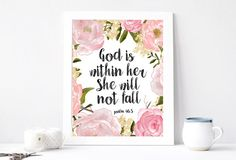 God Is Within Her She Will Not Fall Art Print, Instant Download, Nursery Art, Floral Nursery Print, Nursery Wall Decor, Watercolor Print by PastelPrintablez on Etsy