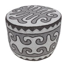 """Ottoman """"Feast"""". Shirdak technique. 100% felt. d: 06 m, h: 0.4 m. One of the most popular elements of interior due to its functionality. 2 color combinations: soft grey and white; and more bright maroon and white/light grey."""