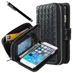 iPhone 6 Case, iPhone 6 Flip Case - E LV Deluxe PU Leather Folio Wallet Flip Case Cover for iPhone 6 (2014) (AT&T, T-Mobile, Sprint, Verizon, International Unlocked) with 1 Black Stylus - BLACK. Specially designed for Apple iPhone 6. Full access to user interface, camera lens, headphone jack, speakerphone and microphone. Allows charging without removing the case. Made of high quality PU leather. Case has credit card slots and 1 slot for cash. Comes with 1 E LV Stylus.