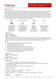 resume for teacher position