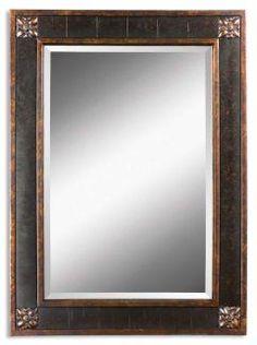 Bergamo Vanity Distressed Chestnut Brown Rectangular Mirror