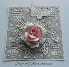 """One of my favorite new dies from Joan's Gardens is the Marianne Design """"Anji Corner"""" EDIT: I have had a couple of email. Butterfly Cards, Flower Cards, Marianne Design Cards, Die Cut Cards, Pretty Cards, Cool Cards, Creative Cards, Greeting Cards Handmade, Scrapbook Cards"""