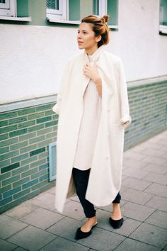 White Blazer duster coat, oversized jumper, black cigarette trousers, pointy flats